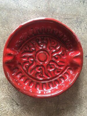 Vintage Mid-Century Mod Red Pottery Italian Ash Tray 60's Gloss Incised Ceramic