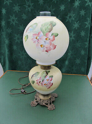 Victorian Hand Painted Florals Gone with the Wind Oil Lamp F.G.Co. Electrified