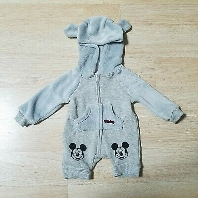 Disney Mickey Mouse Baby One Piece NB Jumpsuit Plush Fleece Lined Hooded