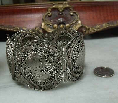Antique Victorian Sterling Silver Very Heavy Egyptian Filigree Rare Bracelet