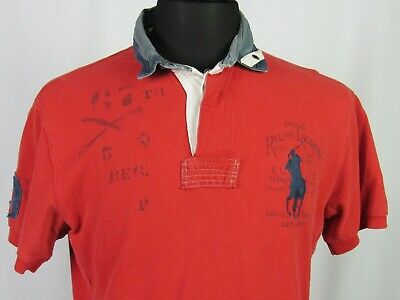 Men's Polo Ralph Lauren Short Sleeved Pique Big Pony Graphic Golf Shirt Large