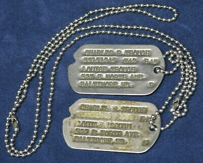 Original WWII US Dog Tags Next of Kin Baltimore MD Charles Trough 1942 w/ Chain
