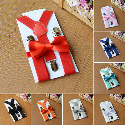 Boys Suspenders Bow Tie Set Clip-on Braces Matching Accesories 2.5cm Stylish