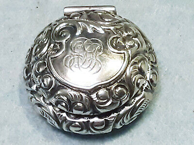 Antique Sterling Silver S. Cottle & Co. Repousse Hinged Pill Box 207 with mono