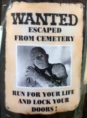 Halloween PERSONALIZED  Wanted Poster Mummy Frankenstein Dracula Wolfman