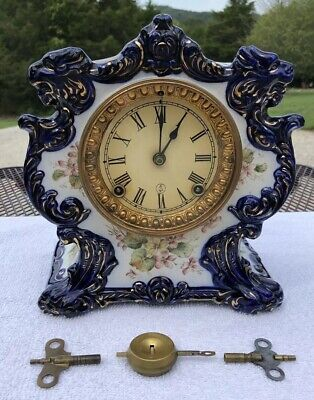1910's Antique Ansonia Porcelain Mantel Clock Working Correctly Tempest Model