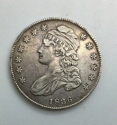 1836 Lettered Edge Bust  Half Dollar 50 Cent Nice #2 Mint Error Cracked Planchet