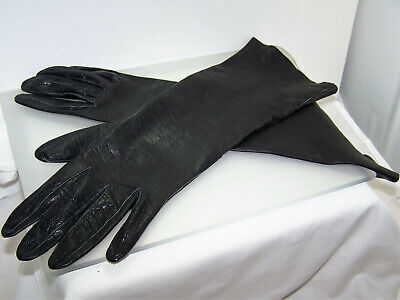 """Sexy 14"""" Inch Long Black Kid Leather Gloves Size 7 Washable Made in Italy 1960's"""