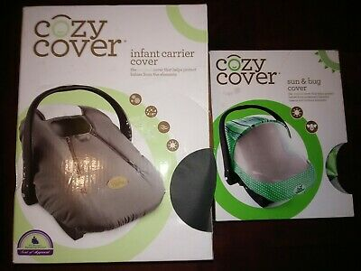 Cozy Cover Infant Carrier Car Seat Cover Charcoal & Sun & Bug Cover Green Bundle