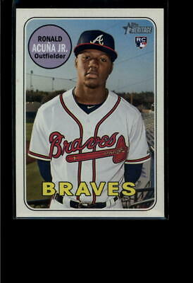 2018 Topps Heritage High Number #580 Ronald Acuna Jr. Nm-Mt Rc Braves