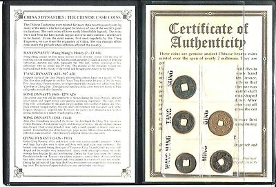 5 Ancient Chinese CASH Coins, 5 DYNASTY, With Story,Album & Certificate