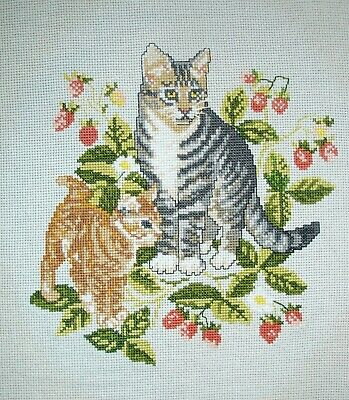 Completed Counted Cross Stitch Unframed Picture Cats Amongst The Strawberries