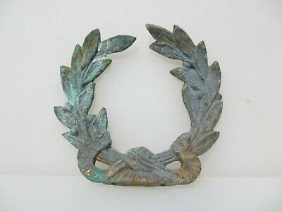 Antique Brass Furniture Ormolu Mount Victorian Flowers Floral Wreath Roses Bow