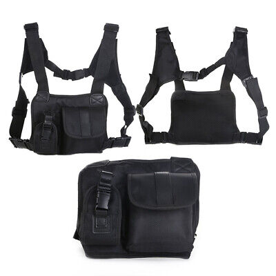 1pcs Black Portable Radio Chest Front Harness Pack Pouch Holster Vest Accessory