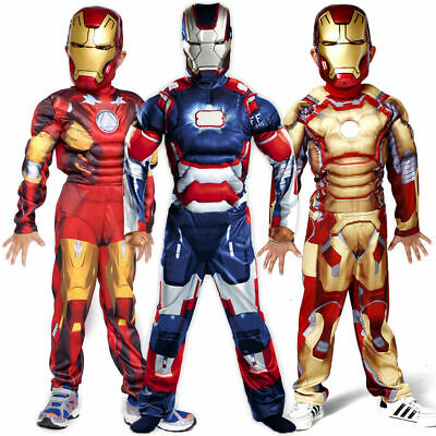 Deluxe Incredible Blue Iron Man Boys Fancy Dress Kids Marvel Avengers Costume