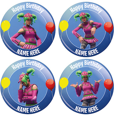 Personalised Fortnite Styled Birthday Badge - 4 Zoey Designs - 2 Sizes