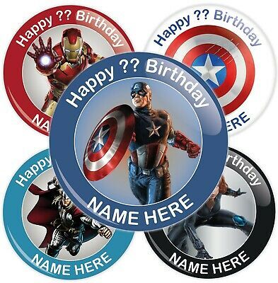 Personalised Avengers Styled Birthday Badge - Choose Character - 2 Sizes