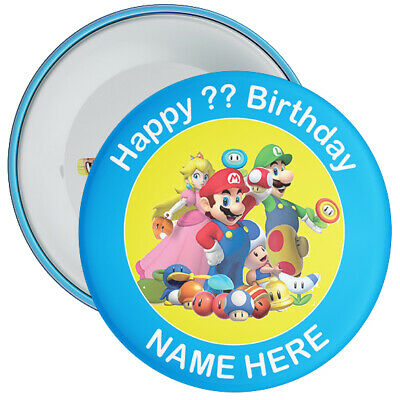 Personalised Mario Styled Birthday Badge - CHOOSE CHARACTER - 2 Sizes