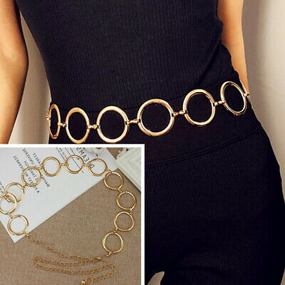 Fashion Vintage Gold Circle Dress Waistband Metal Tassel Body Waist Chain Belt