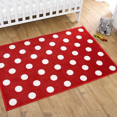 Kit For Kids / Child Baby Nursery Rug Red With White Spots
