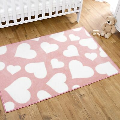 Kit For Kids / Child Baby Nursery Rug Pink With White Hearts