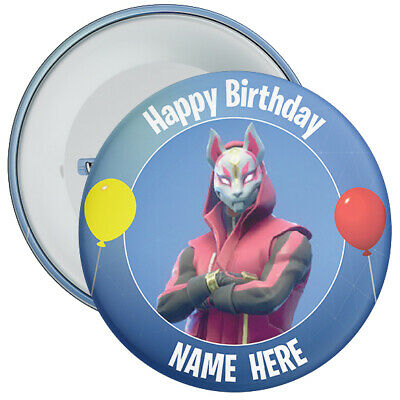 CHOOSE CHARACTER Personalised Fortnite Styled Birthday Badge - 2 Sizes