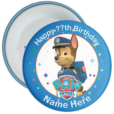 Personalised Paw Patrol Birthday Badges - Choose from 20 Characters - 2 Sizes