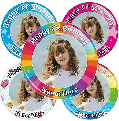 Personalised Photo Birthday Badges - Choose from Various Designs - 2 Sizes