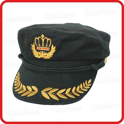 RED CAPTAIN HAT-PILOT,AIR FORCE,NAVY,YACHT,SKIPPER CHILDREN KIDS ADULTS WHITE