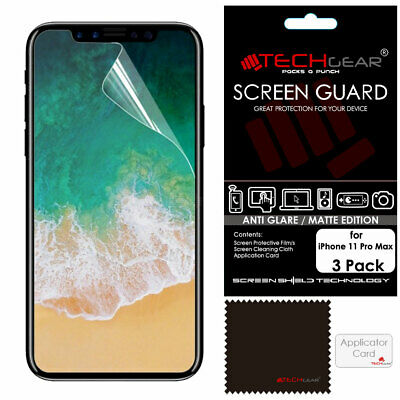 3 Pack TECHGEAR MATTE ANTI GLARE Screen Protector Covers for iPhone 11 Pro Max