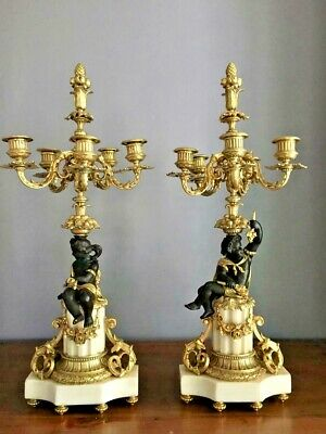 19th Century Important Pair Napoleon III Gilt Bronze Candelabra