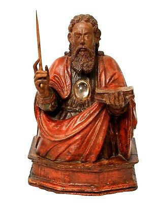 Reliquary bust Of Saint Paul from wood. South Of France , around 1500-1520