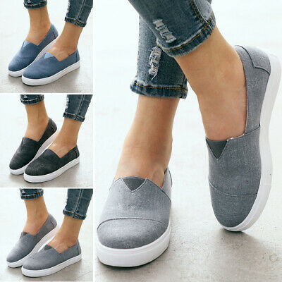 Womens Ladies Denim Canvas Loafers Pumps Casual Slip On Flat Sneakers Shoes