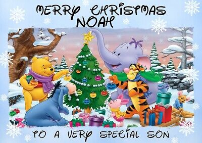 personalised Christmas card Winnie the Pooh Any name/relation