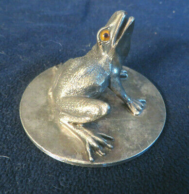 Antique Hartford Silverplate CO Silverplate Frog Figural Paperweight Glass Eyes