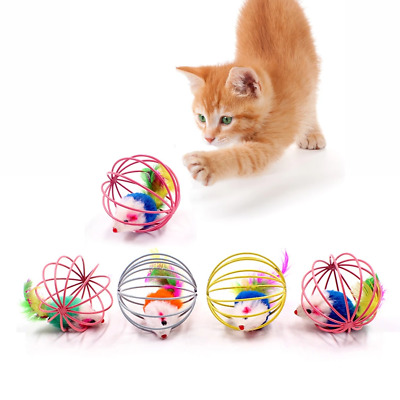 Cat Interactive Toy Stick Feather Wand With Small Bell Mouse Cage Toys Plastic A