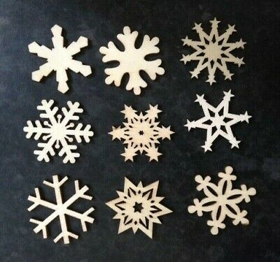 CLEARANCE 9 Small Natural Wooden Christmas Snowflake Card Making Embellishments
