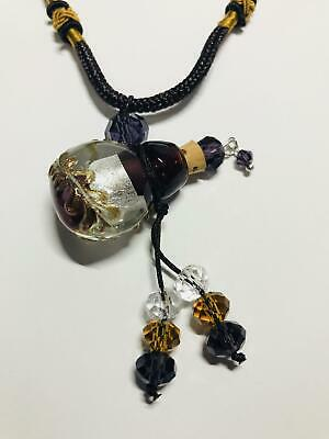 Purple, Silver & Gold Vial Necklace Essential Oil Herbs Spell Witch Wicca Occult