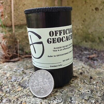 5 or 10 Black 35mm Film Canisters Micro Geocache w/Labels & Log sheet