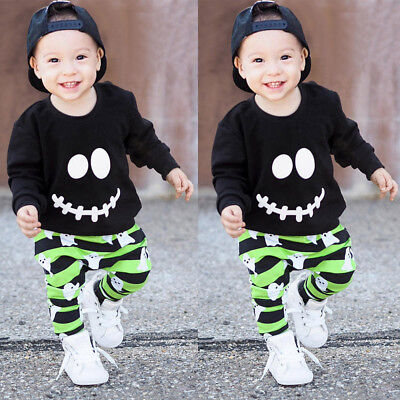 Halloween Kid Baby Boys Clothes Outfits Cotton Pullover Tops Tracksuit+Pants XX