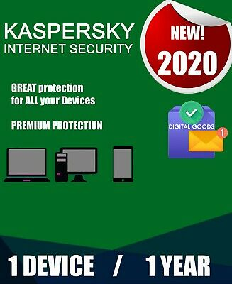 Kaspersky Internet Security 2020 1 Pc Device 1 Year  Best Antivirus License