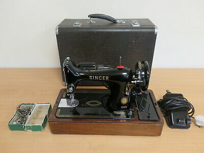 Vintage Singer 99K Portable Electric Sewing Machine with Foot Pedal & Lamp