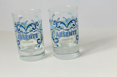 Set of 2 ABSENTE ABSINTHE blue green glasses