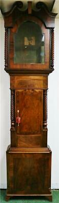 Antique English 19thC 8 Day Flame Mahogany Grandfather Longcase Clock Case