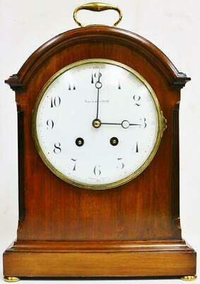 Antique French Mahogany 8 Day 2 Train Gong Striking Pad Top Bracket Clock