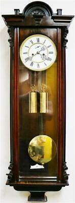 Sublime Antique Gustav Becker Twin Weight Rosewood Vienna Regulator Wall Clock