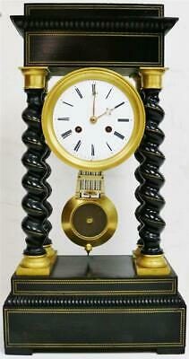 Super Antique French Empire Ebonised 14 Day Portico Table Regulator Mantle Clock
