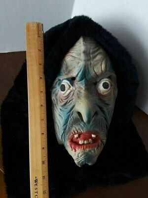 Vtg TOPSTONE LATEX rubber  HALLOWEEN MASK fur hood scary phantom hag witch man