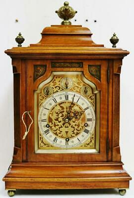 Antique J Sewill Walnut & Ormolu 3 Train 9 Gong Musical Chime W&H Bracket Clock