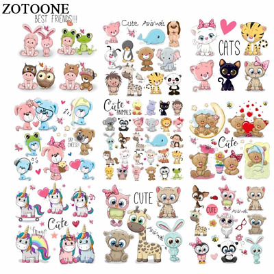 ZOTOONE Iron on Cute Animal Patches for Kids Clothes DIY T-shirt Applique Heat T